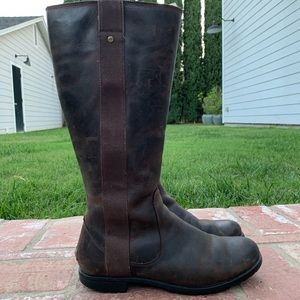 Brown/Burgundy Leather Ugg Boots, women's size 7